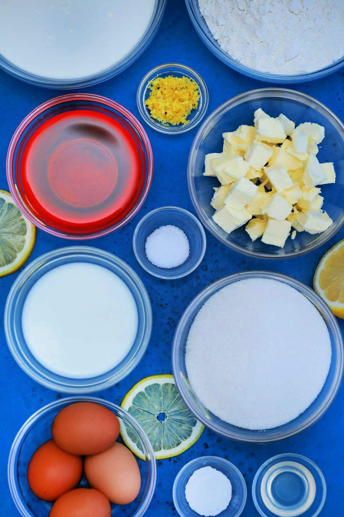 Ingredients for pink lemonade cake