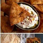 Pita chips collage