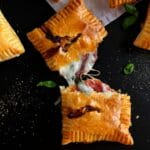 Pizza puff open with cheese melted