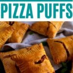 Pizza puffs on black surface