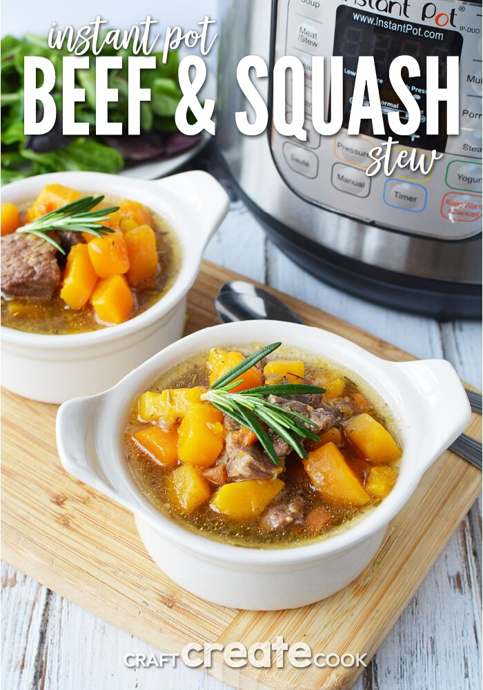 Stew in white bowl by Instant Pot