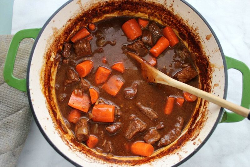 Dutch oven filled with stew