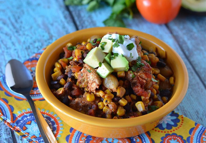 Mexican stew on blue table