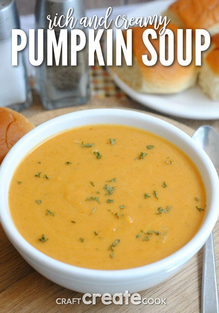 Pumpkin suop in white bowl