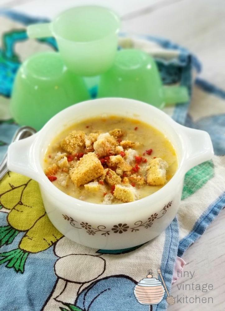 Corn chowder in vintage bowl