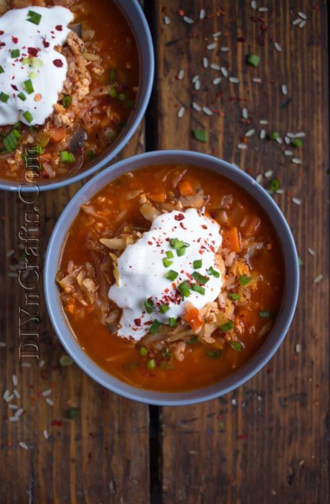Soup on board with sour cream