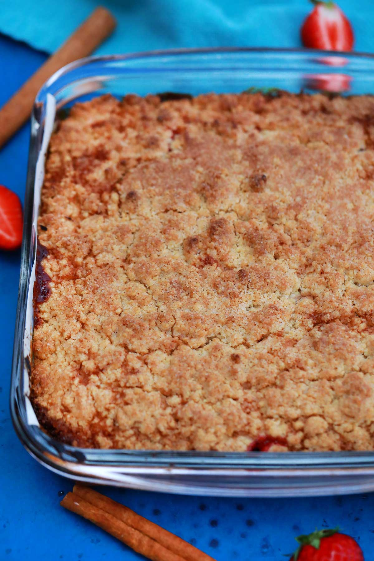 Baked strawberry bars in dish