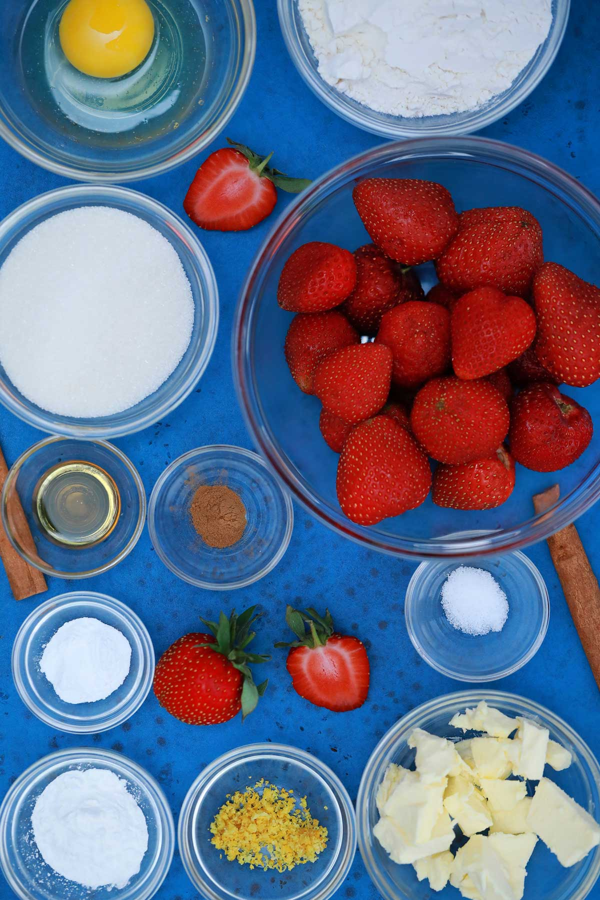 Ingredients for strawberry dessert bars