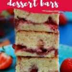Stack of strawberry dessert bars