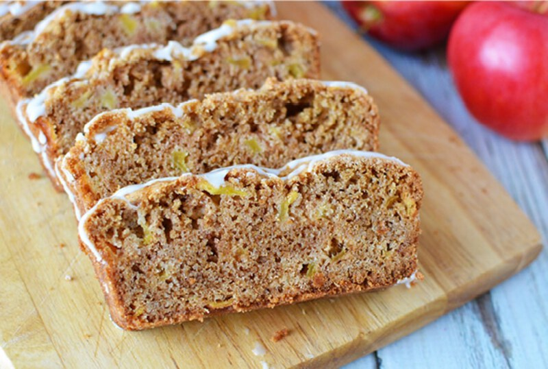 Apple bread on cutting board