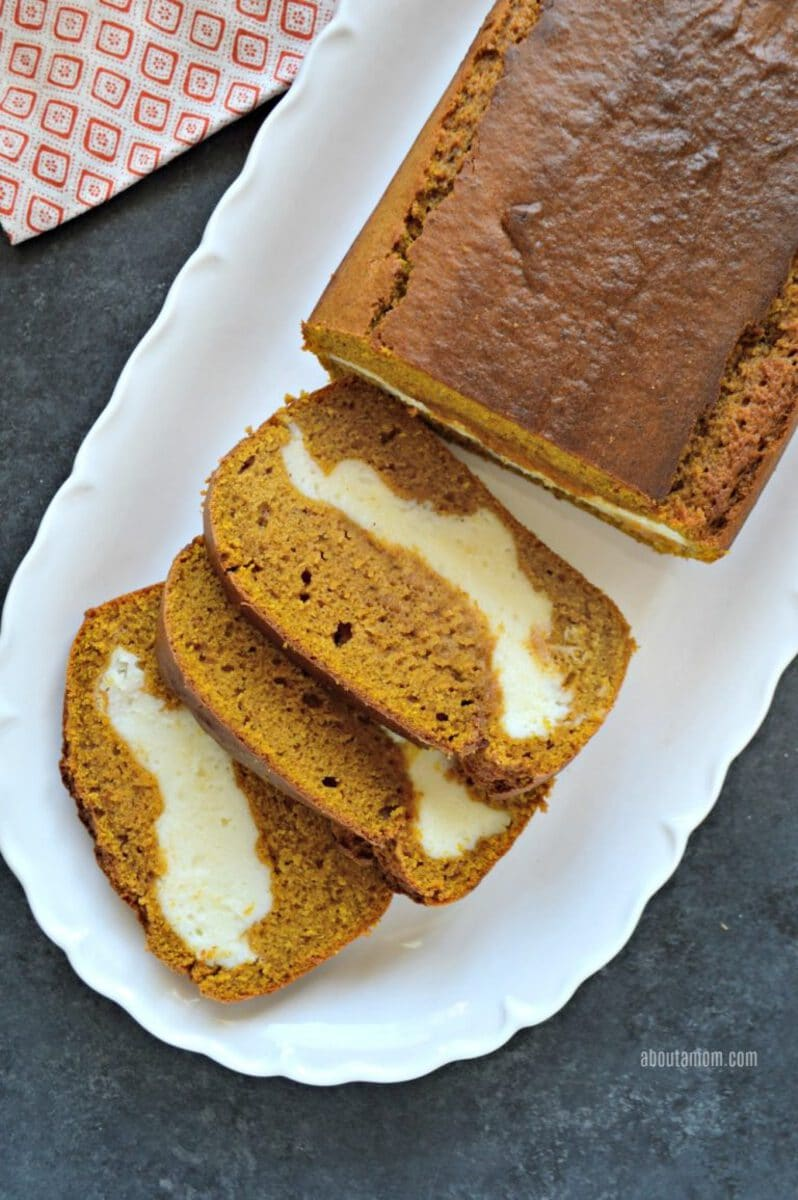 Sliced pumpkin cheesecake bread