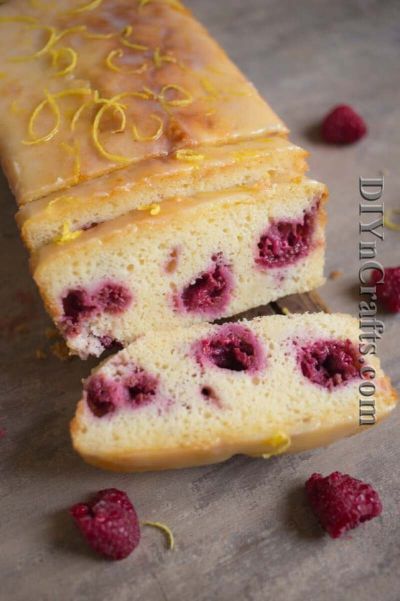 Lemon bread with raspberries