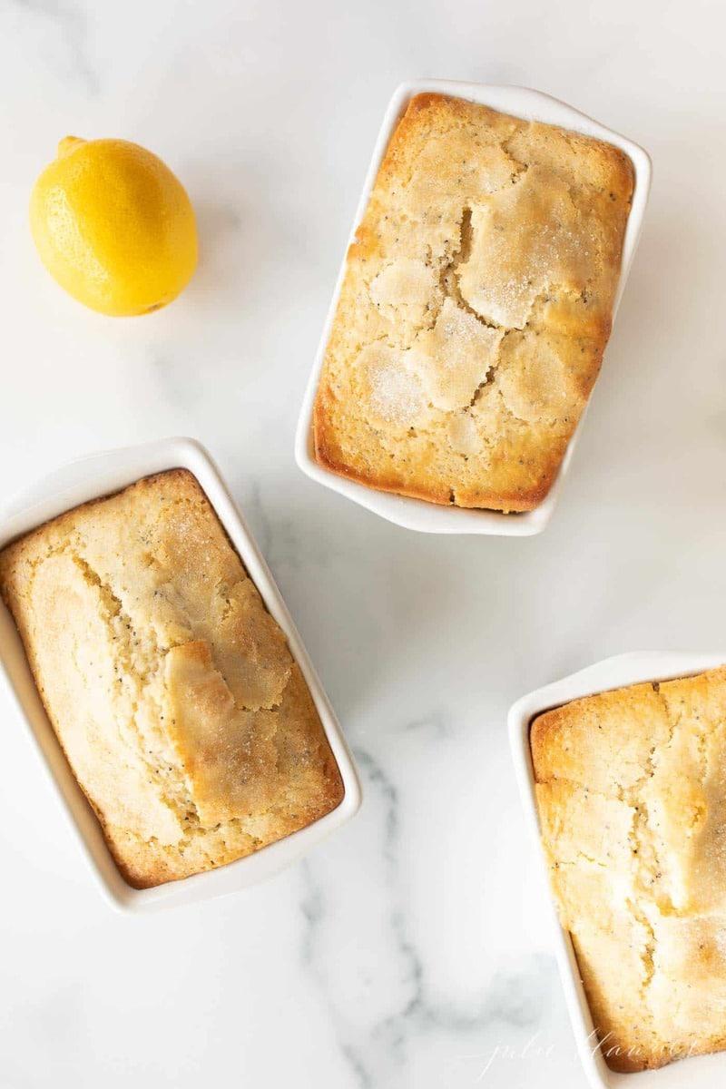 Mini poppy seed bread loaves