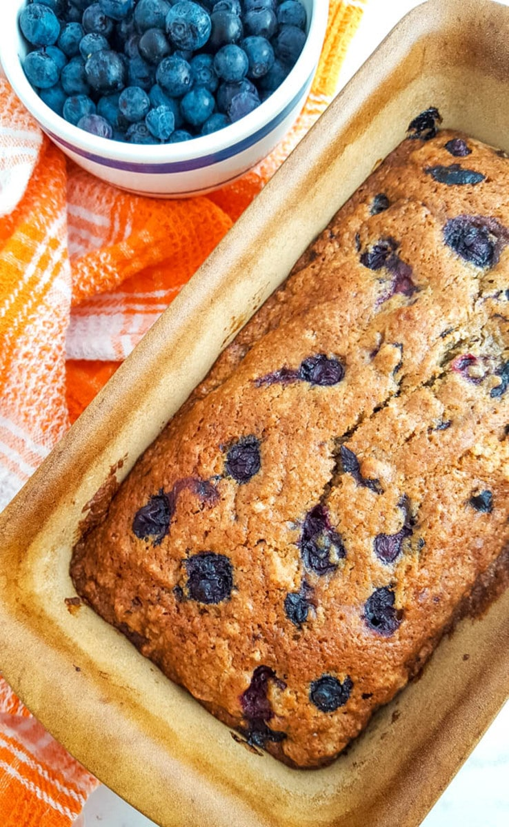 Blueberry bread in pan