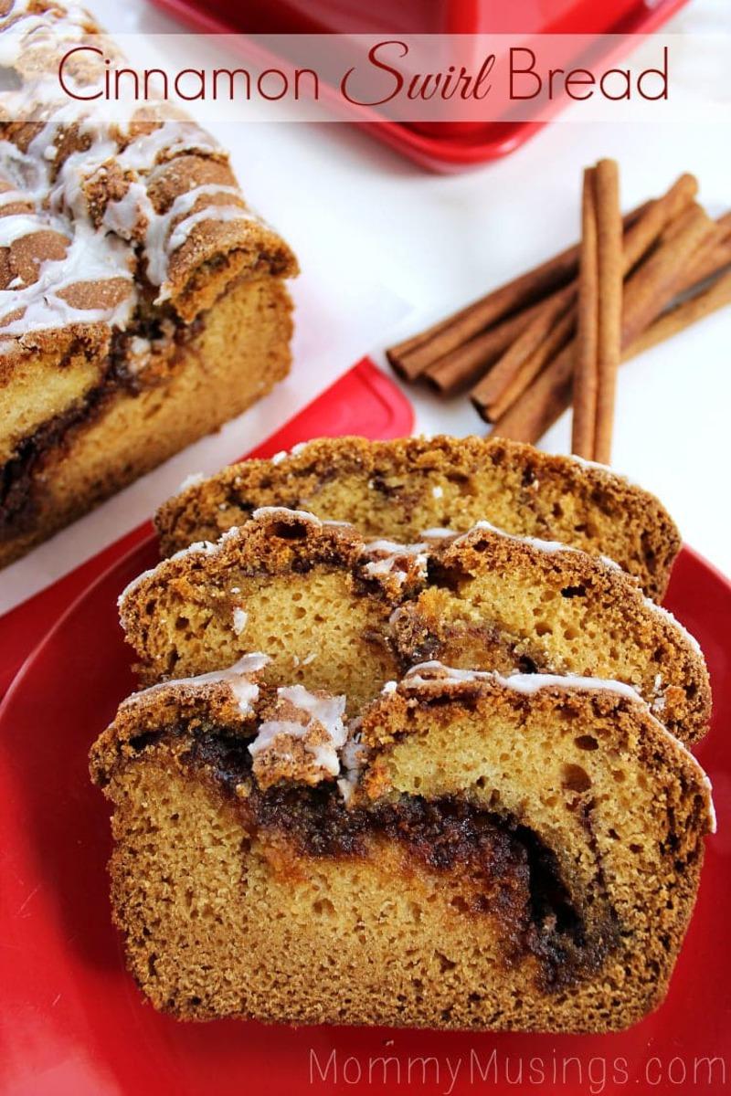 Cinnamon swirl bread on red plate
