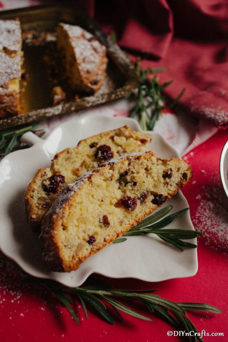 Christmas stolen bread on white plate
