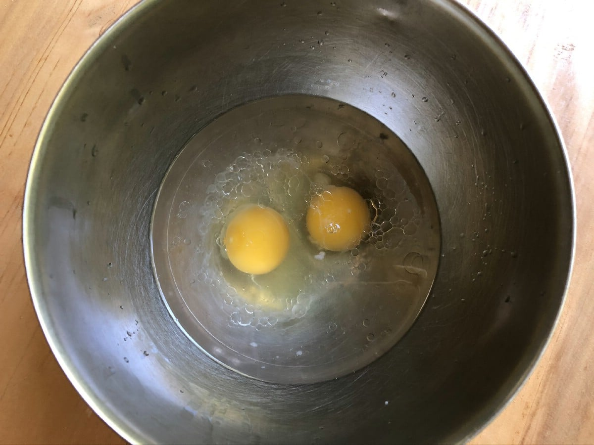 Eggs in stainless steel bowl