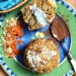 Carrot cake muffin on green plate