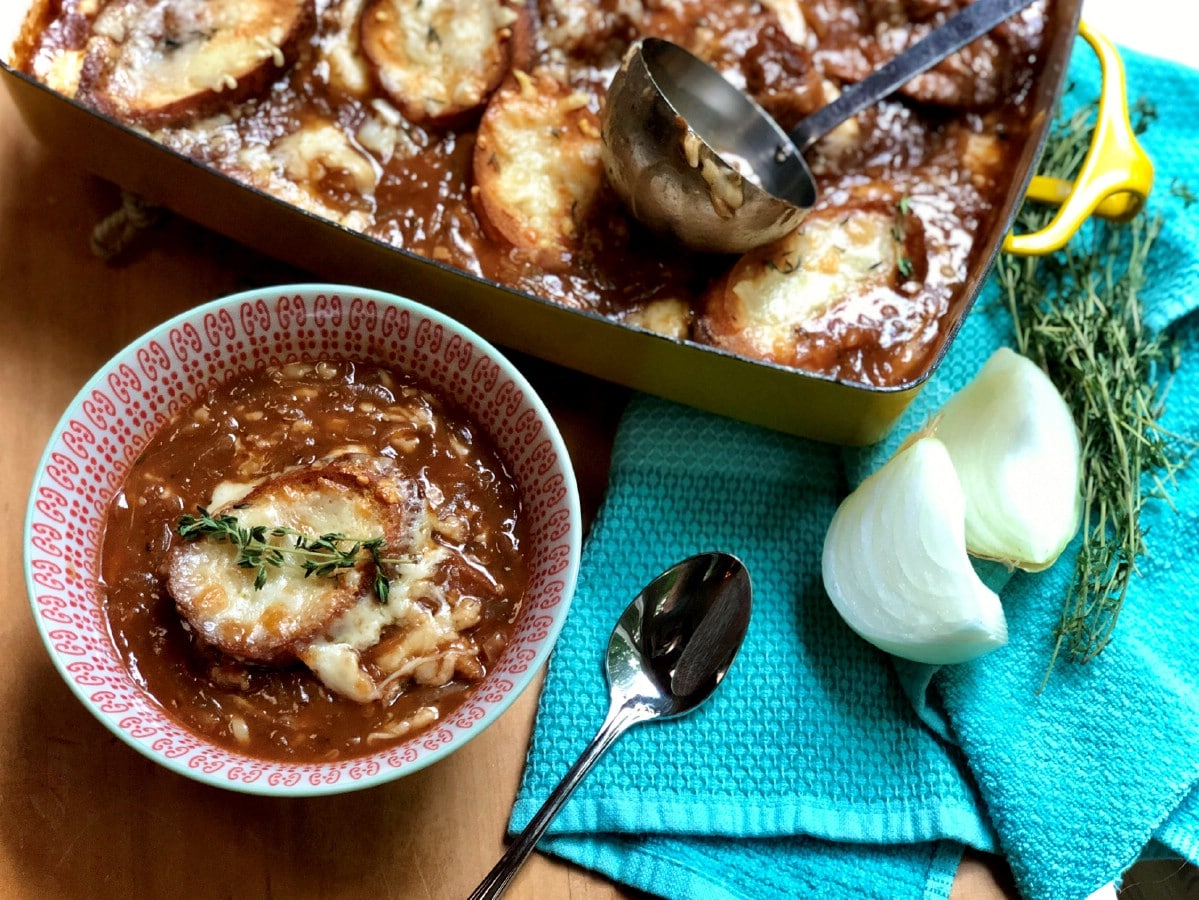 French onion soup casserole in pan