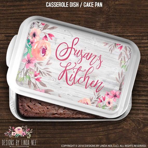 Cake Pan Personalized Casserole Dish Housewarming Gift Wedding | Etsy
