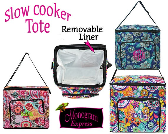 Personalized Insulated Slow Cooker Pot Carrier Monogramed   Etsy
