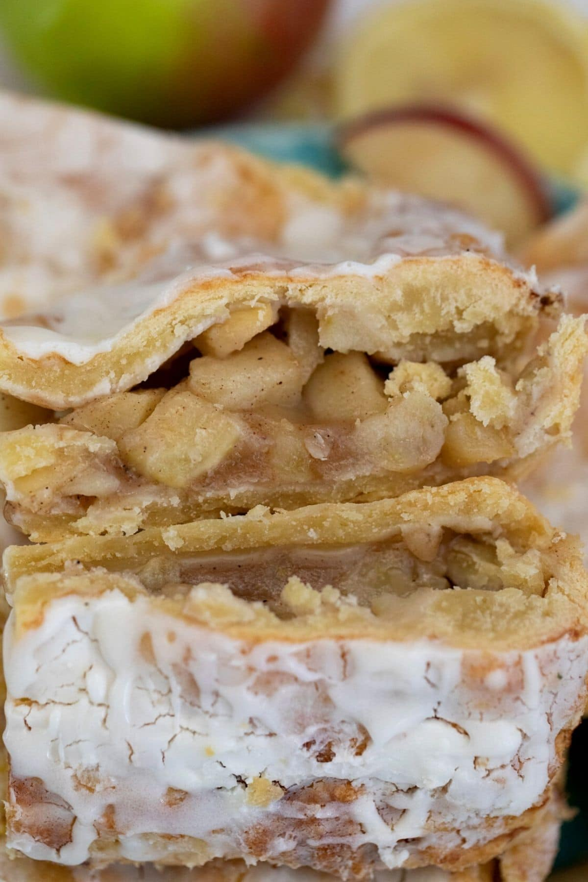 Apple slab pie stacked on plate