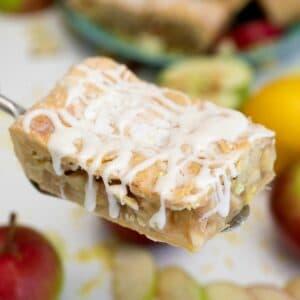 Apple slab pie on fork