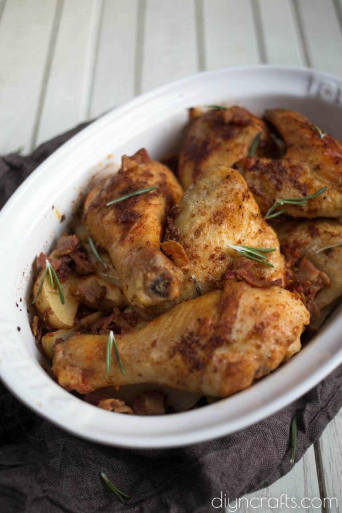 Baked chicken in oval baking dish