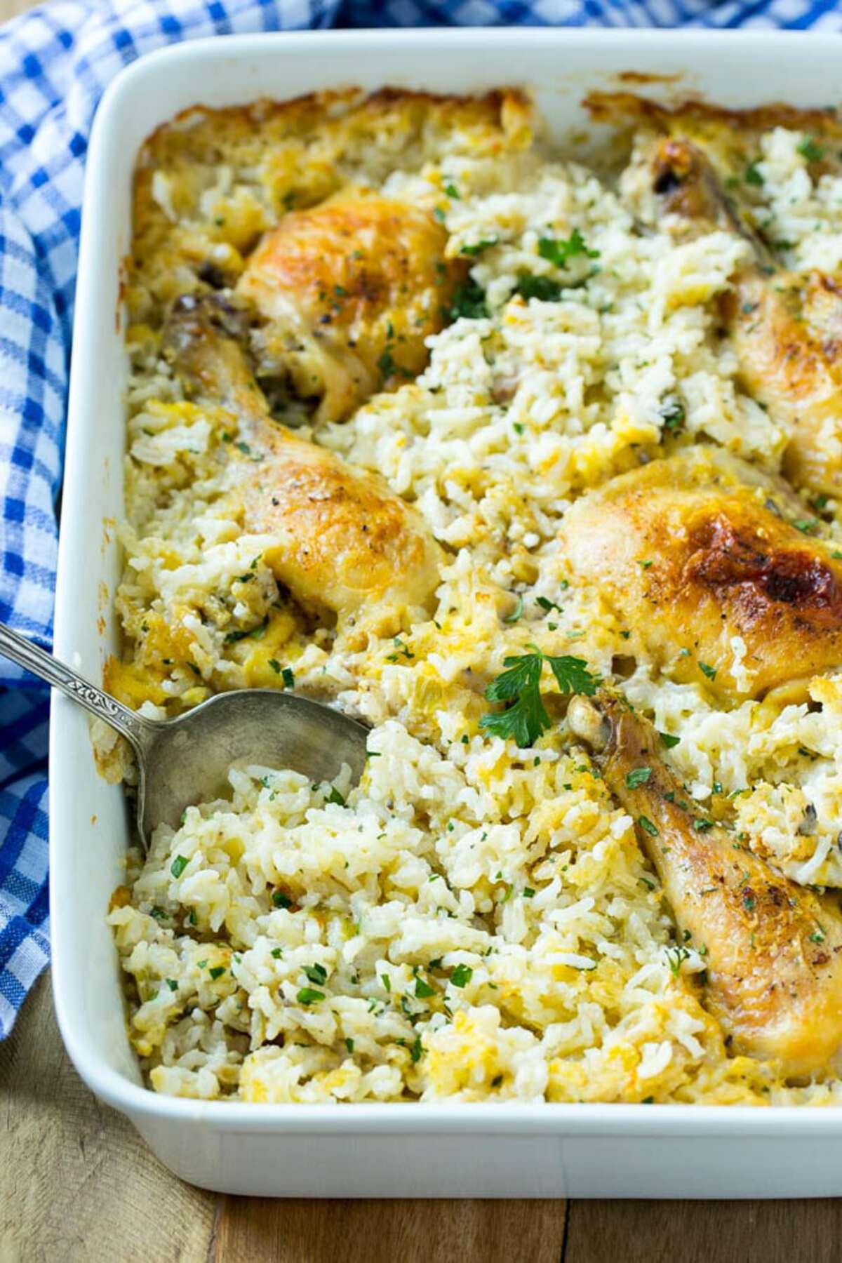 Chicken and rice in casserole dish