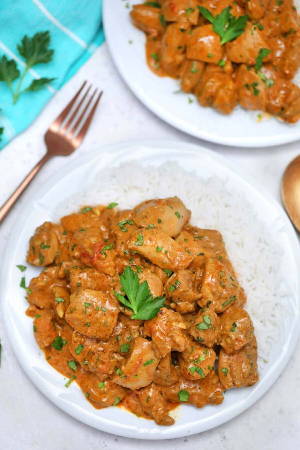 Curry chicken with rice on white plate