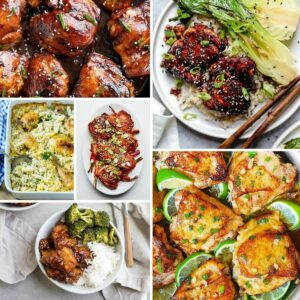 Chicken thighs recipe collage