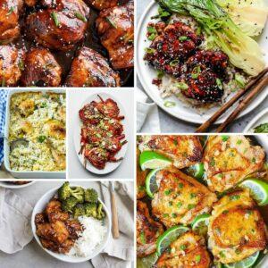 Chicken thighs recipe collage