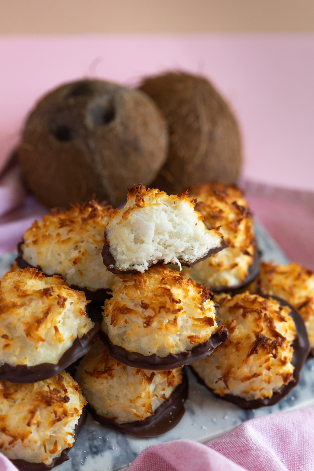 Stack of chocolate-dipped coconut macaroons