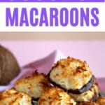 Stack of chocolate dipped coconut macaroons