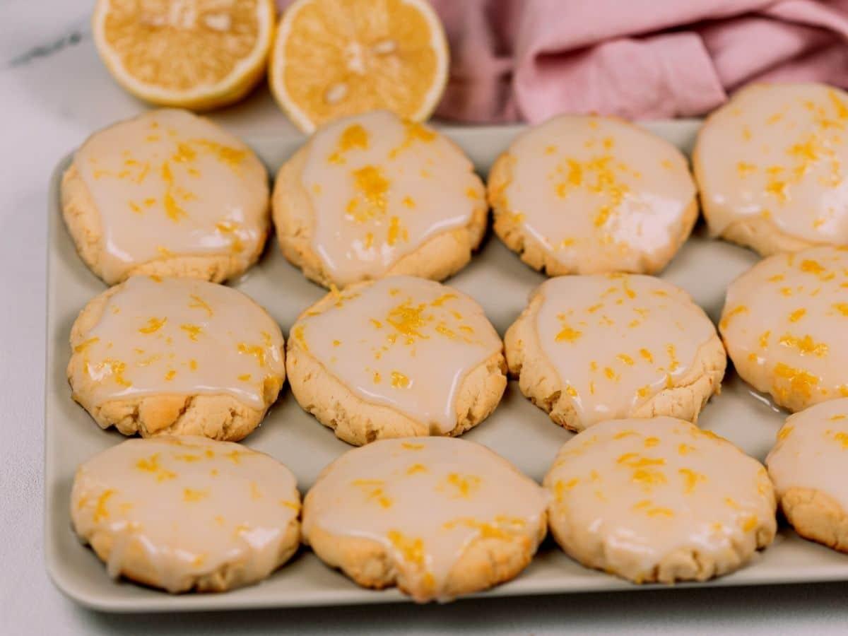 Lemon cookies on a white plate.