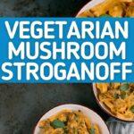 Mushroom stroganoff collage