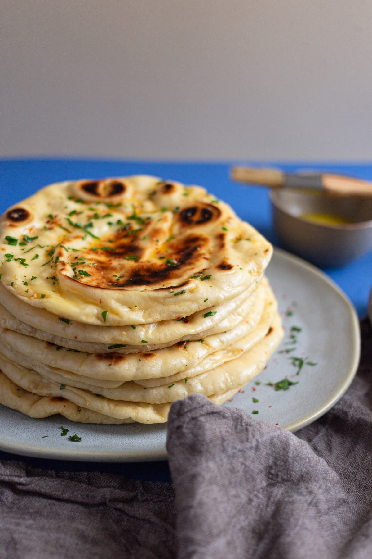 Stack of naan on plate