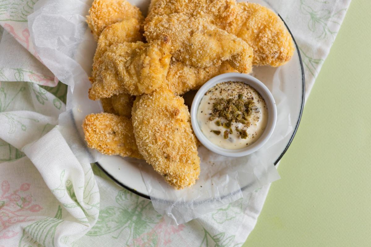 Pickle brine chicken on white plate