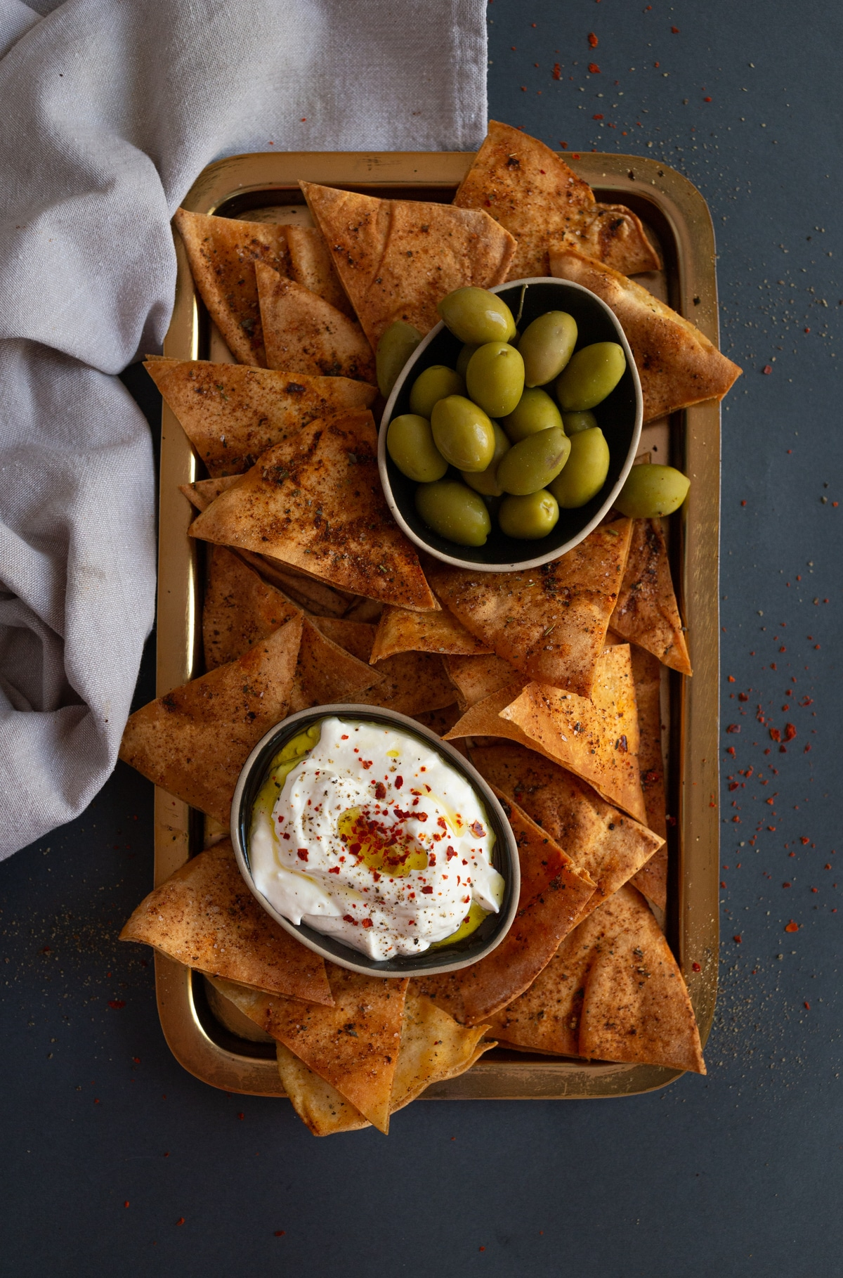 Platter of pita chips