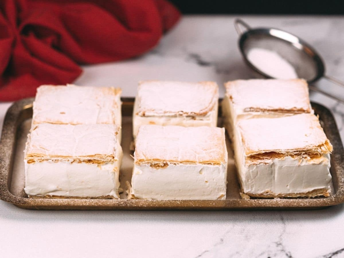 Puff pastry cake on platter