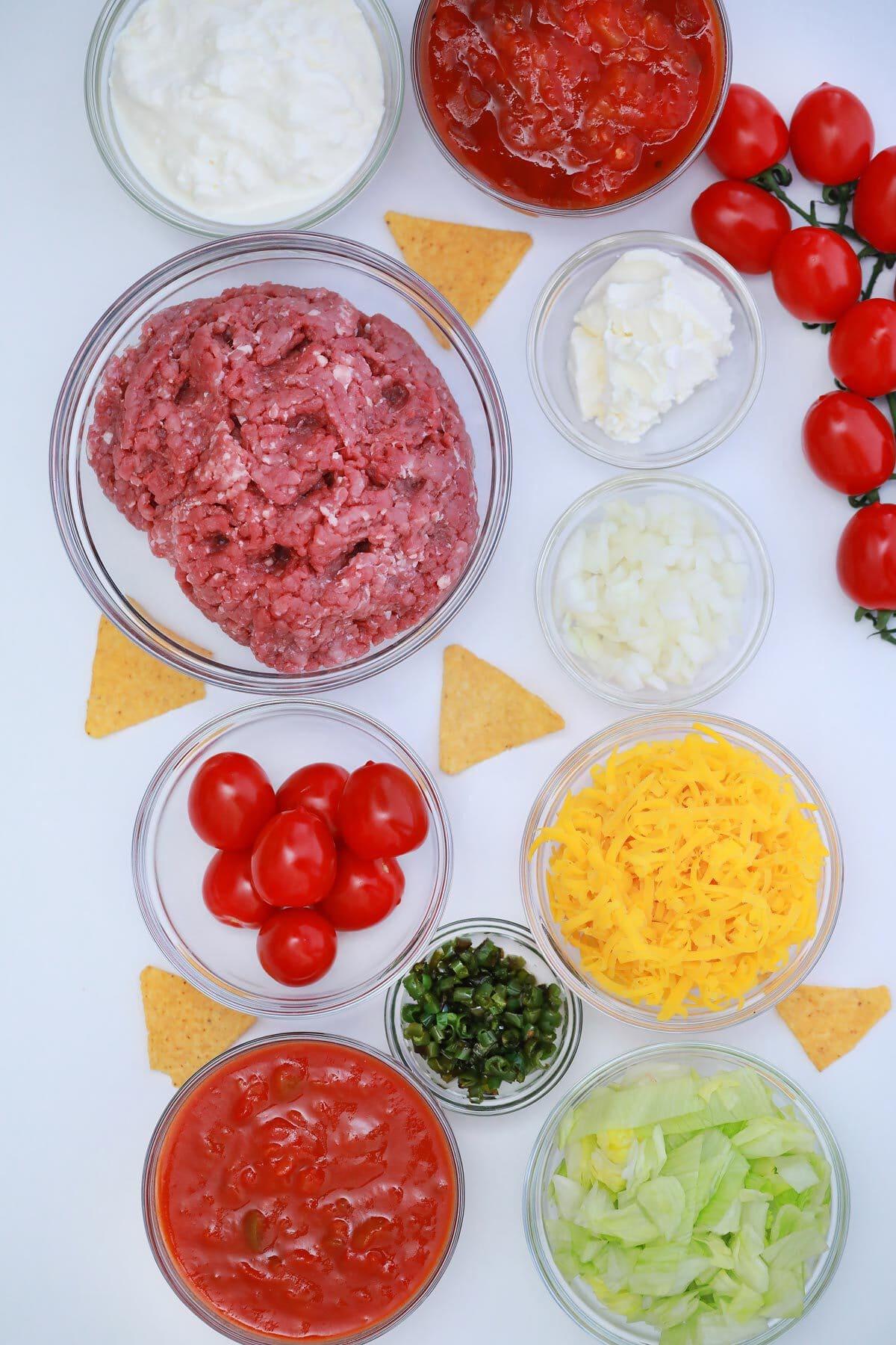 Walking taco casserole ingredients