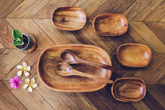 Acacia Wood Set of 7 Oval design Mother bowl with 4 | Etsy
