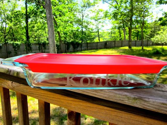 Personalized Etched 9x13 Pyrex Pan with Lid Etched Casserole | Etsy