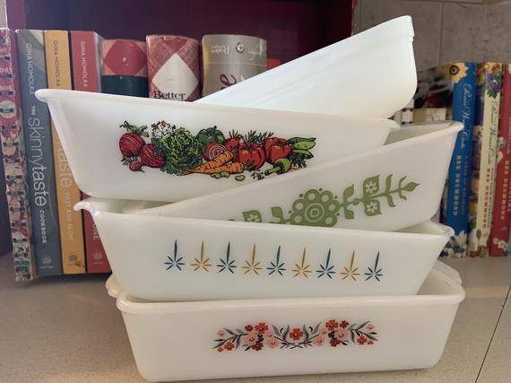 Vintage Fire King & Glasbake Loaf Pans Various Patterns | Etsy