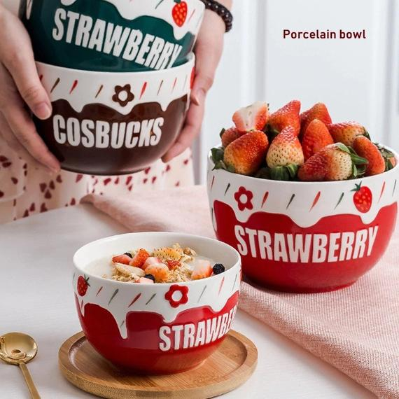 Ceramic Salad Bowls Strawberry Bowl Colorful Bowls Modern | Etsy