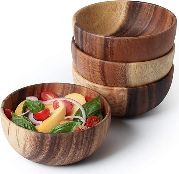 Acacia Wooden Salad Bowl 6.3inches Set of 4 Individual Salad | Etsy