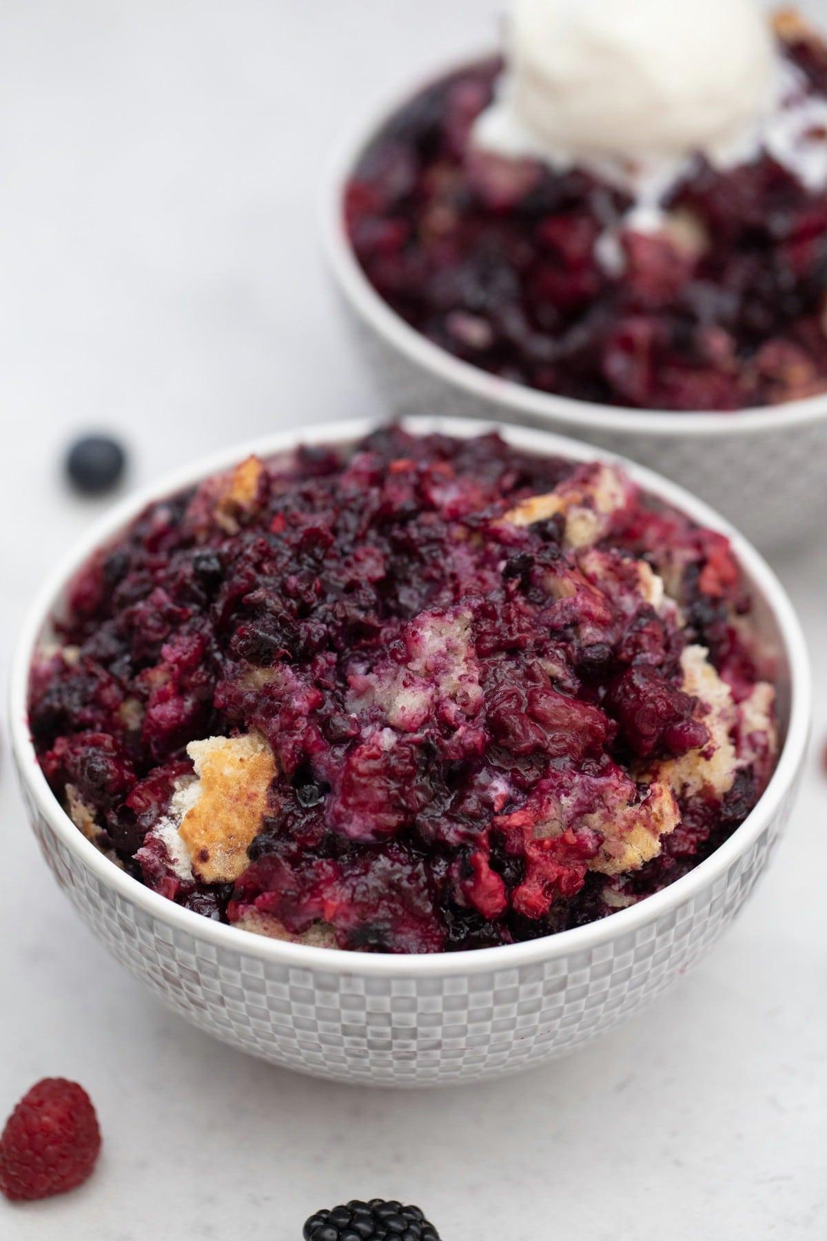 Bowls of berry cobbler