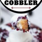 Spoon of cobbler and ice cream