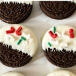 Dipped Oreos in lines