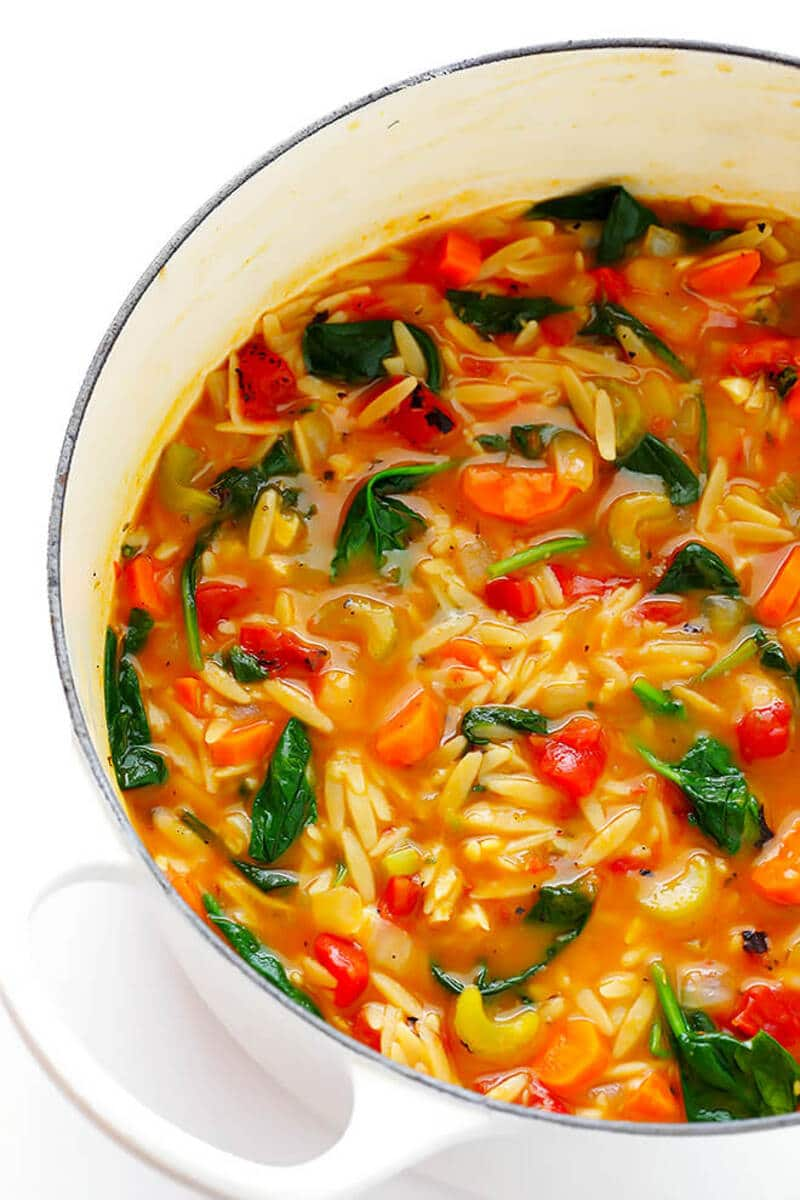 Spinach orzo soup